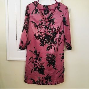 Mango Silky Dress Half Sleeves Floral Purple